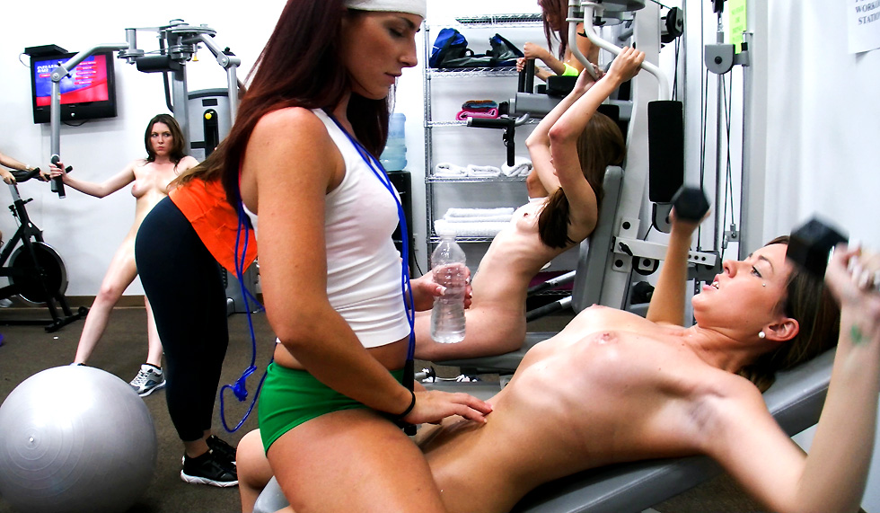 Brutal lesbian domination – girls forced to work out naked – workout those pussies
